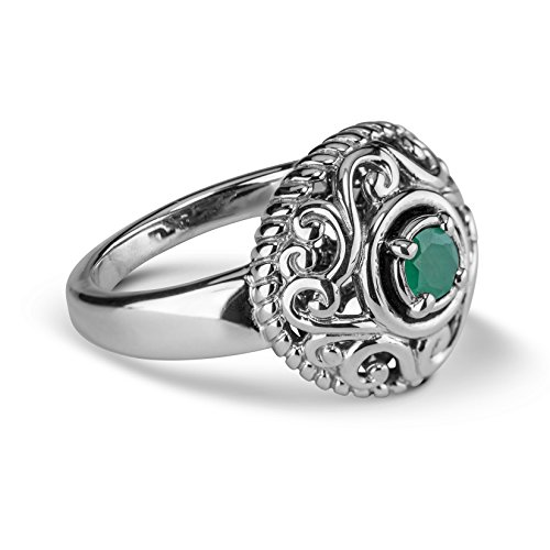 Carolyn Pollack Sterling Silver Green Emerald Gemstone May Birthstone Ring Size 8 (Vintage Jewelry Silver)