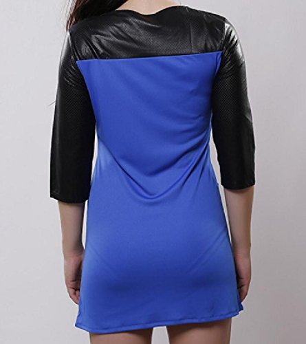 Cocktail Women's Leather Blue Bodycon Long Stitching Dress Sleeve Comfy x147wYY