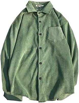 DXHNIIS Material de Pana Camisa Hombre l Verde: Amazon.es ...