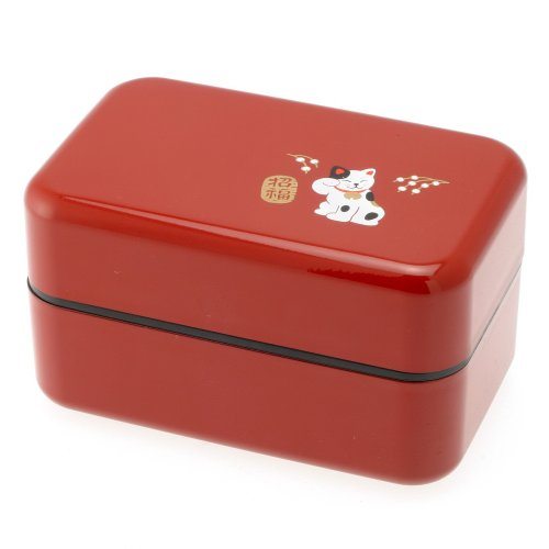 (Kotobuki 2-Tiered Bento Box, Red Beckoning Cat)
