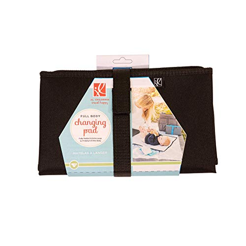 """J.L. Childress Full Body Portable Baby Changing Pad, Fully Padded for Baby's Comfort, Waterproof, Opens to 19"""" X 30"""", Black"""