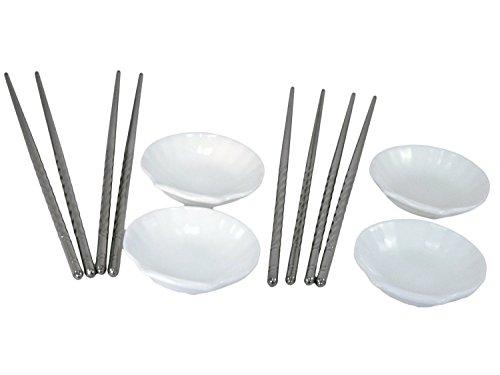 TukTek Ceramic Seashell Sushi Dipping Soy & Wasabi Sauce Dish Set - 4 Serving Bowls w/ 4 Sets of Stainless Steel ()