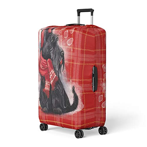 - Pinbeam Luggage Cover Black Scottish Terrier Wearing in Red Hat Travel Suitcase Cover Protector Baggage Case Fits 22-24 inches