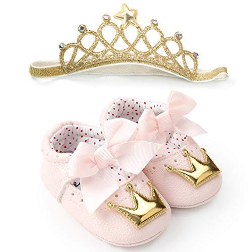 LIVEBOX Baby Premium Soft Sole Infant Toddler Prewalker Anti-Slip Party Dress Crib Shoes with Free Baby Unicorn Headband (L:12-18 Months/5.12