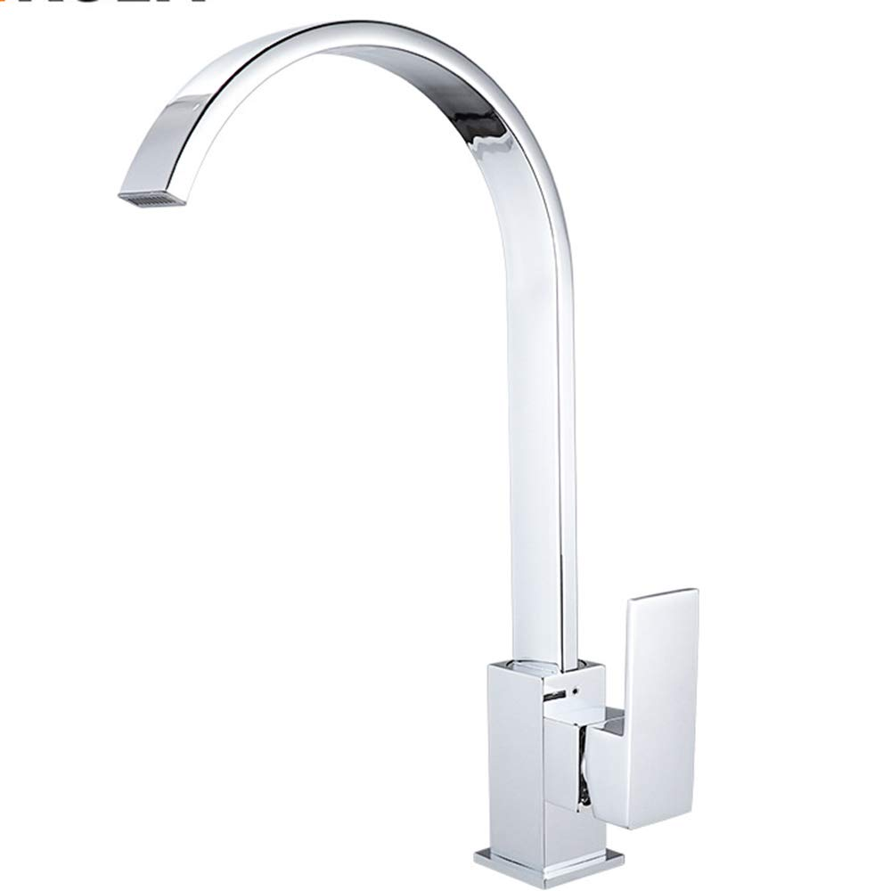 TIAOTIAO Stainless Steel Finish Kitchen Faucet, Swivel Hot& Cold Mixer Stainless Steel Single Handle Brushed Steel Kitchen Sink Faucet, Easy Installation Brushed Nickel Kitchen Fauce