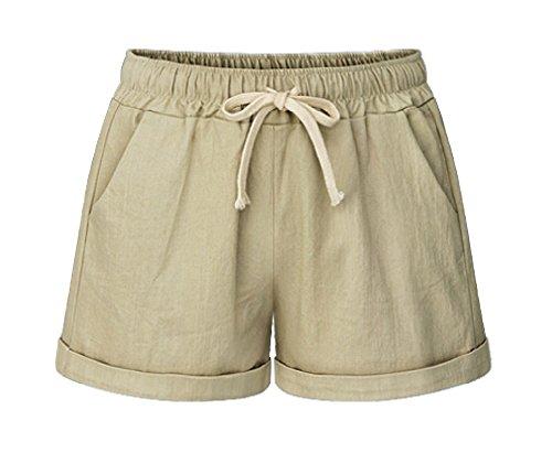 - MO GOOD Women's Elastic Waist Cotton Casual Beach Shorts with Drawstring (Khaki, US 16)