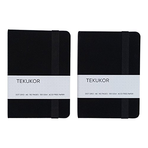 2-Pack Tekukor A6 Notebook Hardcover Dot Grid - Dotted Pages For Bullet Journal Pocket Size