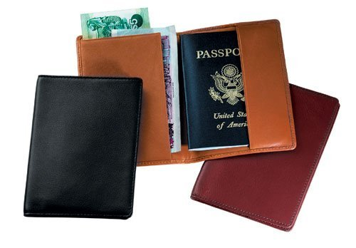 Royce Leather Passport Holder and Travel Document Organizer in Leather, Black ()