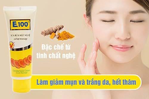 01 Boxes 100ml - SỮA RỬA MẶT NGHỆ (CÓ HẠT) E100 - Facial Cleanser turmeric essence E100