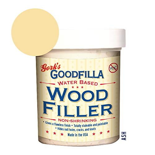 (Water-Based Wood & Grain Filler - Ash - 8 oz By Goodfilla | Replace Every Filler & Putty | Repairs, Finishes & Patches | Paintable, Stainable, Sandable & Quick Drying)