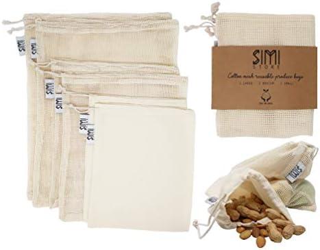 6 bolsas de muselina de malla de algodón orgánico reutilizables: Amazon.es: Hogar