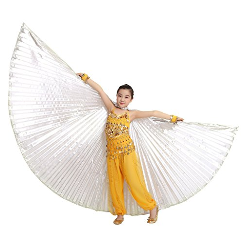 Stick Dance Costume (MUNAFIE Halloween Costumes Belly Dance Isis Wings for Children Kids Silver (With Sitcks and Bag))