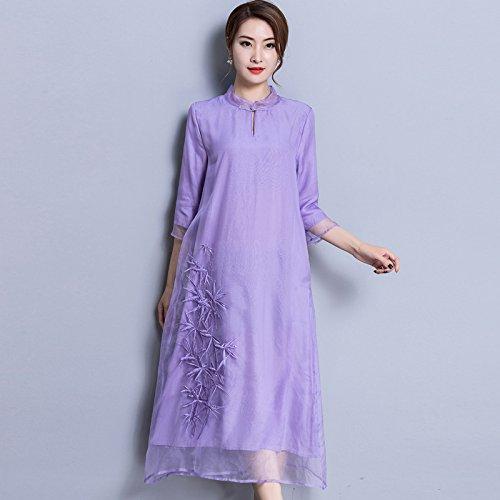 Violet ZHUDJ Chers LÂche Un Long Cheongsam Costume Robe Robe Brodée 3XL