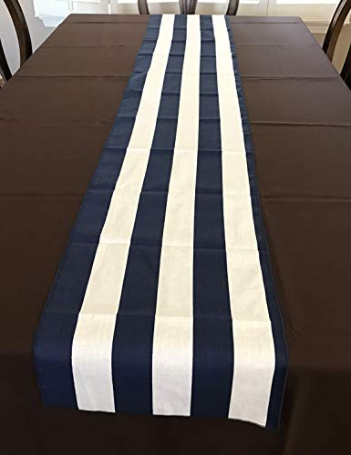 lovemyfabric Poly Cotton 2 Inch Striped Table Runner for Wedding/Bridal Shower Birthdays Home Decor and Special Events. (14