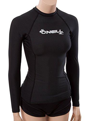 O'Neill Wetsuits UV Sun Protection Womens Basic Skins Long Sleeve Crew Sun Shirt Rash Guard, Black, Medium