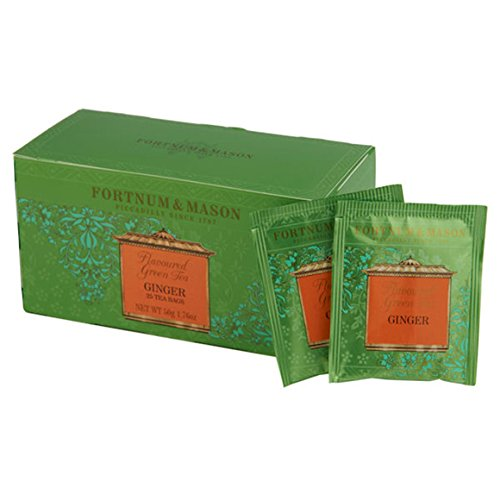 Fortnum & Mason British Tea, Green Tea with Ginger, 25 Count Teabags (1 Pack) - - Seller Model Id Gtgingerfl032b - USA Stock