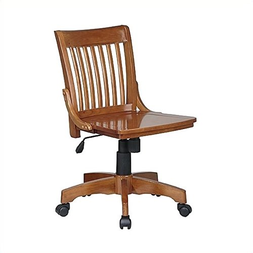Office Star Deluxe Armless Wood Bankers Desk Chair with Wood Seat, Fruit Wood (Bankers Wood Chair Armless)
