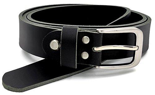 Schwarzer Vollledergürtel aus Büffelleder 30mm breit 4mm stark kürzbar Gürtel Ledergürtel Anzuggürtel Jeansgürtel schwarz #GSw300801 (BW 95cm)