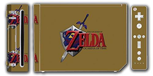 Legend of Zelda Link Ocarina of Time Gold Logo Master Sword Hylian Shield Video Game Vinyl Decal Skin Sticker Cover for the Nintendo Wii System Console (Legend Of Zelda Ocarina Of Time Hylian Shield)