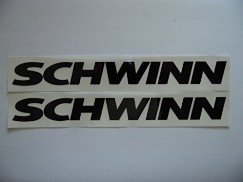 "Schwinn 8.5"" x1.5"" black on clear Vinyl decal weather proof heavy duty glue 2 bike stickers -  stickers Inc"