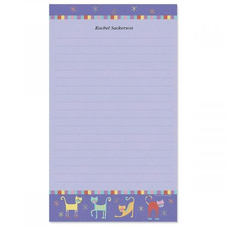 Fun Cats Custom Memo Pad -1 Pad, Lined, 50-Sheets, Add Your Initial, Personalized Stationery, Housewarming Gift