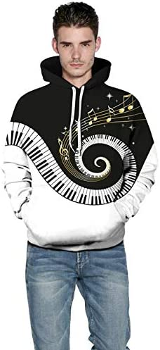 Emlyn Adrian Musical Note Piano Keys 3D Hoodie Sweatshirts Men Hoody Pullover Tracksuit