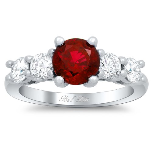 Bel Dia Ruby and Diamond 5 Stone Engagement Ring