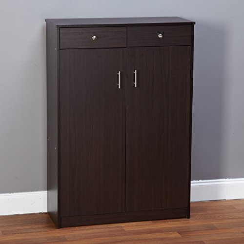 Target Marketing Systems Seth Collection Contemporary Double Door 2 Drawer Shoe Cabinet Storage, Black (Double Shoe Cabinet)