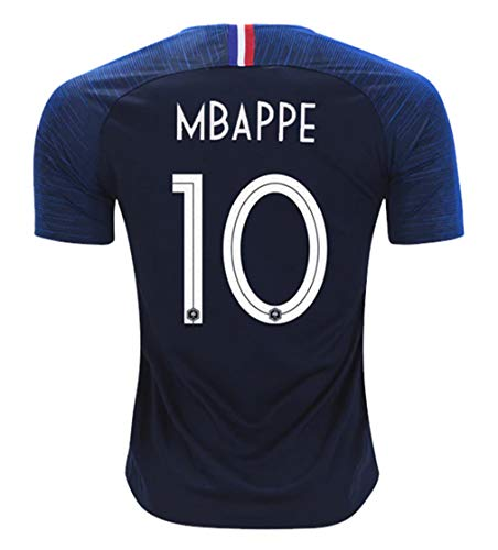 (Redrun 2018 National Soccer Team France Mbappe 10 Home Men's Jersey Color Blue Size L)