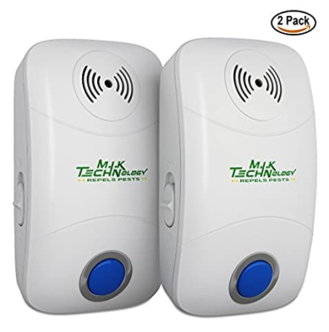 Ultrasonic Pest Repeller – Pack of 2 Ultrasonic Pest Control ElectronicPlug-In-Repellent for Indoor and Outdoor Use – Fight Insects, Bug, Mice, Rats and More –Safe for Humans and (Ultrasonic Electric Repellent)