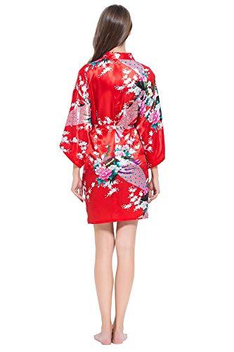 Albornoz Floral Rot Kimono Un Fashionista Moda Largo Rosado Pijama Camisón Elegante Tamaño Vintage Para Mujer Estampado Vestido wxpqFn4Pv