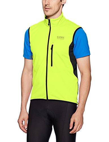 (GORE BIKE WEAR Men's Soft Shell Cycling Vest, GORE WINDSTOPPER,  Vest, Size: XL, Neon yellow/Black, VWELEM)