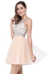 Babyonline Crystals Beads Womens Cocktail Dresses Short Mesh Backless Prom Dress