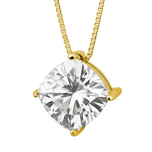 (Forever Brilliant Cushion Cut 7.5mm Moissanite Pendant Necklace, 2.00ct DEW by Charles & Colvard)