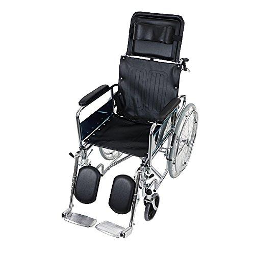 自走介助兼用 リクライニング車椅子 黒 折り畳み 携帯バッグ付き ノーパンクタイヤ フルリクライニング車椅子 リクライニング フルリクライニング 自走用車椅子 自走式車椅子 自走用 介助用 自走 介助 車椅子 車イス 車いす ブラック wheelchairb02bk B06VSXH3FC
