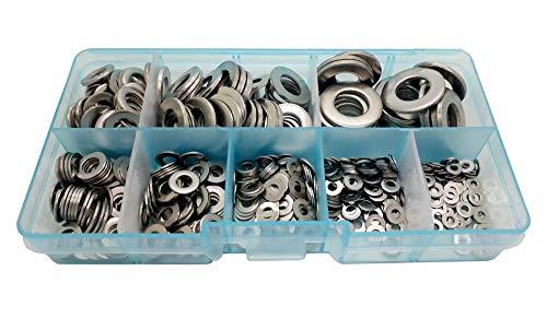 Guard4U 500Pcs Stainless Steel Flat Washers Assortment Kit, for M2 M2.5 M3 M4 M5 M6 M8 M10 Screws Bolt