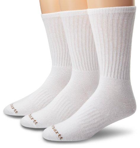 Carhartt Mens 3 Pack Work Wear Cushioned Crew Socks, White, Shoe: 6-12