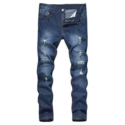 Cher Rotti Basic Taglie Casual Da Fori Uomo Dritta Biker Aderente Stile Jeans Blau Pantaloni Moda Vintage Slim Fit Abiti Classico Comode Gamba E nf8OqAn6wY