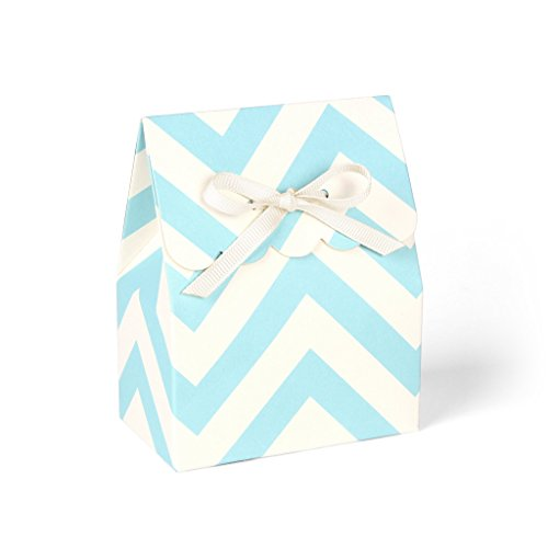 Ivory Custom 2 Ribbon - Blue and Ivory Chevron Favor Boxes with Ivory Grosgrain Ribbon // set of 8