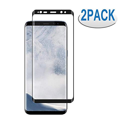 [2 Pack] Samsung Galaxy S8 Screen Protector,S8 Tempered Glass Screen Saver 3D Curved HD Ultra Clear 9H Hardness Full Coverage Screen Film[Anti-Scratch, Anti-Bubble](NOT for S8 Plus) ()