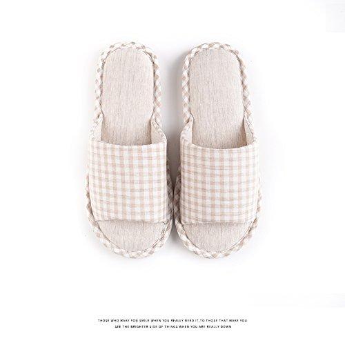 Habuji primavera ed estate cotone femmina pantofole estate home famiglia antiscivolo ciabattine morbide maschio, 41-42, grigio