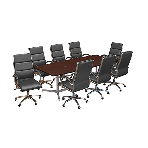 Bush Business Furniture 96W x 42D Boat Shaped Conference Table with Metal Base and Set of 8 High Back Office Chairs in Harvest Cherry Boat Shaped Conference Table Base