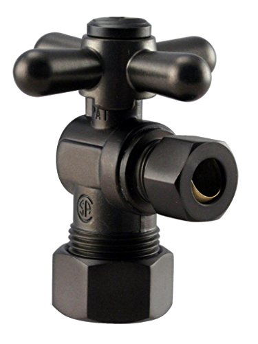 Westbrass 1/4-Turn Cross Handle Angle Stop, 5/8'' OD x 3/8'' OD, Oil Rubbed Bronze, D105BX-12 by Westbrass