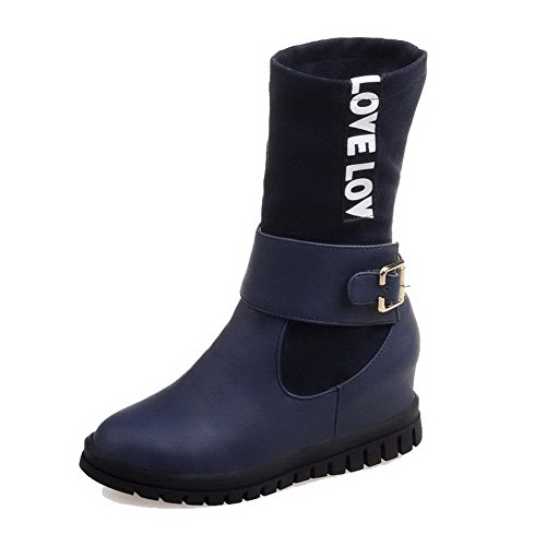 Blend Top AllhqFashion Boots Womens Blue Materials Kitten Toe Low Round Closed Heels vq8raqXwZ
