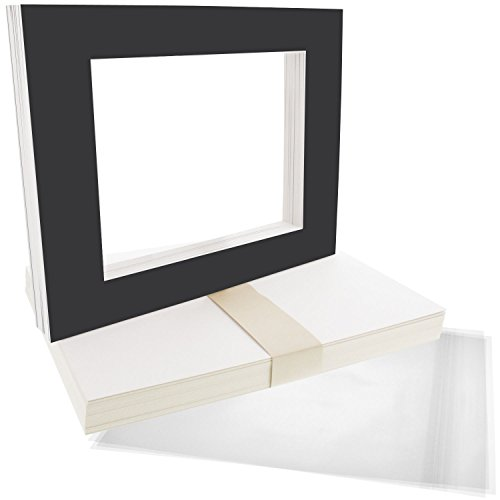 US Art Supply Art Mats Acid-Free Pre-Cut 8x10 Black Picture Mat Matte Sets. Includes a Pack of 25 White Core Bevel Cut Mattes for 5x7 Photos, Pack of 25 Backers & 25 Clear Sleeve Bags