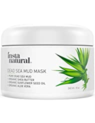 InstaNatural Dead Sea Mud Mask - Reduce Facial Pores - Organic for Oily & Acne Prone Skin, Blemishes & Complexion - Mineral Infused Fine Line Reducing Product with Shea Butter & Aloe Vera - 8 oz