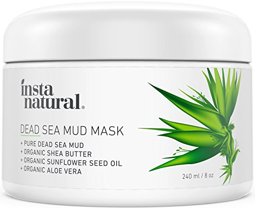 InstaNatural Dead Sea Mud Mask - Reduce Facial Pores - Organic for Oily & Acne Prone Skin, Blemishes & Complexion - Mineral Infused Fine Line Reducing Product with Shea Butter & Aloe Vera - 8 oz ()
