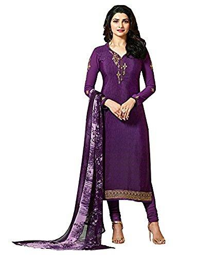 (Laxminarayan Ready Made Purple Royal Crepe Embroidered Indian Pakistani Churidar Salwar Suit (Customize)