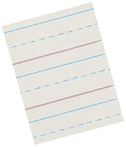 School Smart 85338 Red and Blue Ruled Newsprint for Grade 2 to 3 - 10 1/2 x  8 inches - Ream of 500 - White