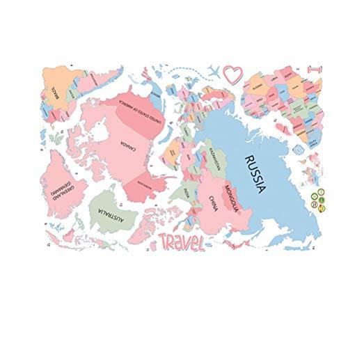 TOYANDONA 2 unids Mapa del Mundo de Vinilo Pegatinas de Pared para Habitaciones de los niños Oficina Sala de Estar...